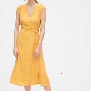 Gap Golden Yellow Dot Wrap Front Midi Dress